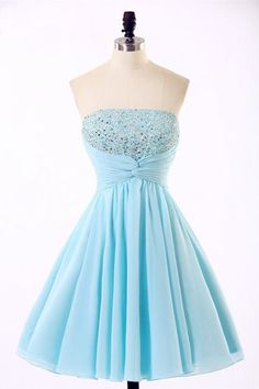 2017 Strapless Homecoming Dress,Light Blue Homecoming Dresses,Beaded Prom