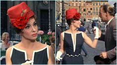 """Stunning Gina Lollobrigida in red hat in Come September (1961). Costume design by Morton Haack / Сногсшибательная Джина Лоллобриджида в красной шляпке в """"Приходи в сентябре"""". Художник по костюмам Мортон Хаак (1961).  #oldgoodmovies #style #styleinspirations #vintage #moviestars #GinaLollobrigida #кинораньшеговремени #стиль  #мода #винтаж #смотриивдохновляйся #кинозвёзды #ДжинаЛоллобриджида"""