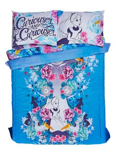 """<div>Fall down the rabbit hole to Dreamland every night under this cozy comforter from Disney's <i>Alice In Wonderland</i>. The lilac comforter features a black and white sketch of Alice with watercolor flowers on front and an allover floral print with silhouetted Cheshire Cats and pocket watches on the other. <br><br>Sheets and pillowcases not included.<br></div><div><ul><li style=""""list-style-position: inside !important; list-style-type: disc !important"""">81"""" x 86""""</li><li…"""