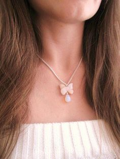Cute agate bow and moonstone opalite drop by MalinaCapricciosa, $22.00