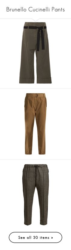 """Brunello Cucinelli Pants"" by stacy-hardy ❤ liked on Polyvore featuring pants, army green, brunello cucinelli, olive pants, olive green pants, wide leg cropped pants, military green pants, chino trousers, brown trousers and cotton stretch pants"