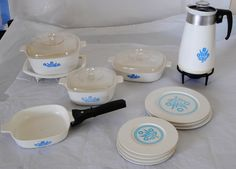 Corning ware.  Those plates and saucers are hard to find