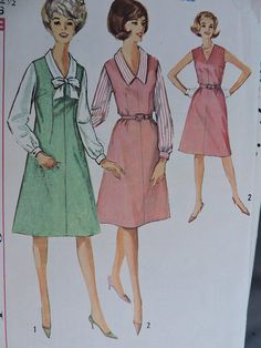 Dress Jumper and Blouse One Piece Dress Vintage 1964 Simplicity 5401 Pattern Sz. Vintage Jumper, Dress Vintage, Vintage Tops, Cabbage Patch Kids Dolls, One Piece For Women, One Piece Dress, Beautiful Patterns, Doll Clothes, Clothes For Women