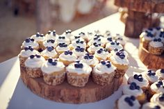 kinda love these little cupcakes- yellow cake, white frosting, and a few blueberries. Easy and inexpensive. Need a cupcake tree!