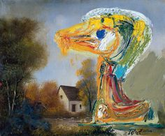 Asger Jorn || The Disquieting Duck || 1959 || Oil on canvas, potrait painting