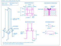 Resultado de imagen para foundation for steel column Steel Columns, Steel Beams, Steel Drawing, Civil Engineering Construction, Building Foundation, Concrete Column, Column Base, Steel Detail, Column Design