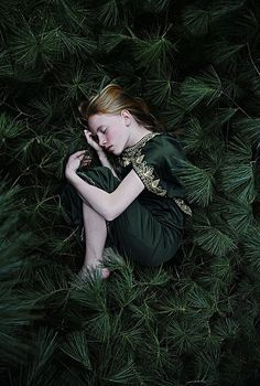 sleeping forest girl