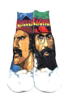 Cheech and Chong Socks, Unisex Socks, Up In Smoke, Marijuana, Pot, Weed, Stoner Socks, Hippies, Colorful Socks, Mid Calf Socks by Getn It In by GETNITINCO on Etsy https://www.etsy.com/listing/243300149/cheech-and-chong-socks-unisex-socks-up