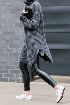 black leather skinnies, grey turtleneck sweater, oversized turtleneck sweater, sneakers, grey and black, winter outfit
