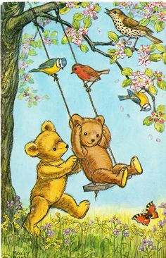 Teddy bears playing on tree swing in spring