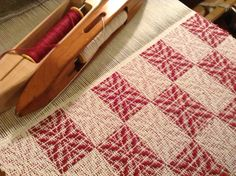 8/2 towel with the pattern weft in red doubled.
