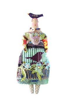 Textile Art Doll With A Purple Bird On Top Of by theresahutnick, $30.00