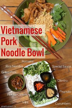Vietnamese Pork Noodle Bowl. Stop buying takeout! This is a DIY Bun Thit Nuong and it's so easy. Set out all the ingredients and each family member can make a bowl just the way they like it.