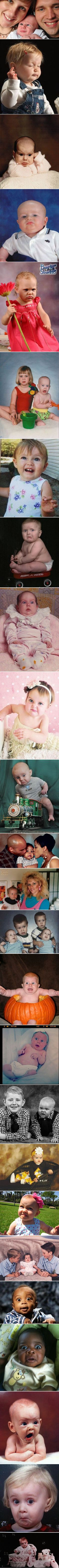 Funny kids and baby photographs taken at the perfectly wrong time. I can't stop laughing!