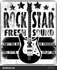 Cool grunge hand drawn electric guitar with distorted text in it. Rock Star. EPS10 vector image.