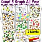 This is an 48 page pdf file.  Students count the pictures and make a bar graph  There is a set of pictures and a graph for each month: *Back to Sch...