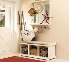 aménagement entrée -banc-rangements-miroir-étagère
