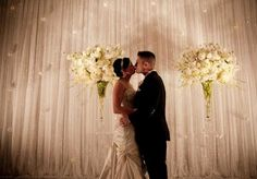 Glamorous white altar. Photo by Ace Cuervo Photography. #wedding #altar #white
