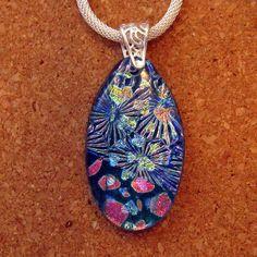Blue Dichroic Glass Pendant - Dichroic Necklace - Dichroic Jewelry - Fused Glass Pendant - Fused Glass Jewelry - Glass Jewelry by GlassMystique on Etsy