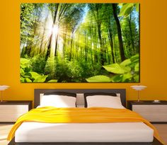 Sunrise over the trees in the forest Large Photoprint Multi Panel Canvas Print, Nature Wall Art Decoration Extra Large Print Ready to Hang by CanvasPrintStudio on Etsy