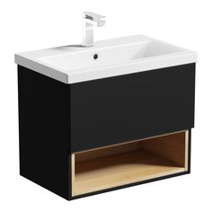 Mode Tate anthracite oak wall hung vanity unit with basin - (waste/trap not inc) Basin Vanity Unit, Bathroom Vanity Units, Wall Mounted Vanity, Small Bathroom, Bathrooms, Bathroom Ideas, Black Bathroom Furniture, Back To Wall Toilets, Bathroom Essentials