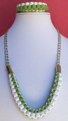 Set of Necklace and Bracelet Green and White by MyCreationsDesigns