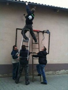 Ladder Safety.  More people get hurt on a ladder when other help than when alone