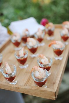 Single serving shrimp cocktail shooters! Love this for a wedding cocktail hour {Photo by Dianna M Lott via Project Wedding}