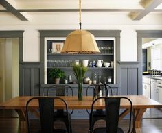Simo Design California Craftsman Bungalow Dining Room With White Walls And Gray Painted Trim ...