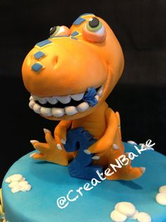 Buddy, dinosaur Train , fondant and air brushed. Dinosaur Train Party, Dinosaur Cake, Dinosaur Birthday, Gum Paste Flowers, Third Birthday, No Bake Treats, No Bake Cake, Cake Designs, Fondant