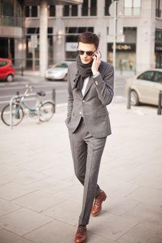 gray suit/ slim suit/ men's fashion/ gentlemen r style/ glen check Sharp Dressed Man, Well Dressed Men, Flannel Suit, Wool Suit, Grey Flannel, Mohair Suit, Herren Style, Slim Suit, Tight Suit
