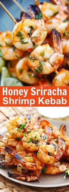 Honey Sriracha Shrimp Kebab - crazy delicious shrimp kebab with honey Sriracha butter. Thread shrimp on skewers and grill, so easy! Kabob Recipes, Grilling Recipes, Fish Recipes, Seafood Recipes, New Recipes, Dinner Recipes, Cooking Recipes, Favorite Recipes, Healthy Recipes