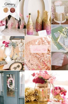 pink and gold glittery bridal shower ideas for 2015 trends