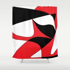 Red, Black and White Pop Art Shower Curtain $68.00. #homedecor #redandblackbathroom #gifts