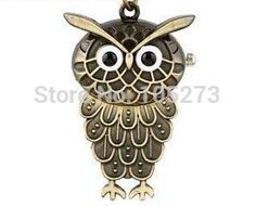 1PCS Lovely Owl Pocket Watch Locket Necklace Pendants 30x45mm - New Arriver DIY Accessory Jewelry Making #Affiliate