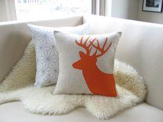Orange Deer Pillow Cover, Stag Antlers, Appliquéd Silhouette, Trendy Woodland Decor, 18 x 18, Rustic Modern
