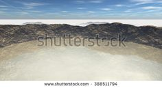 View of the crater filled with water and surrounded by mist. 3D Illustration, 3D rendering - stock photo