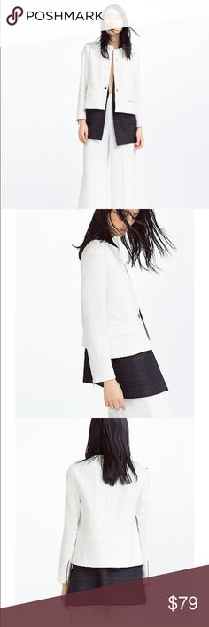 Zara Woman Round Neck White Blazer No tags but brand new never worn, %64 polyester,%32 viscose, %4 elastine, height of the model is 187cm, it has zipped cuffs. Zara Jackets & Coats Blazers