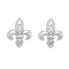 Use Jewelers Code To Shop:TRI90952   Rhodium Plated Fleur- de -Lis CZ Post Earrings                         Code: 63559   Price: $39.00    Earrings measure 14x11mm.  .925 Sterling Silver