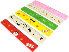 6x Childrens Ruler Wooden 20cm 6 Animal Design/'s Bright Colours Party Bag Pinata