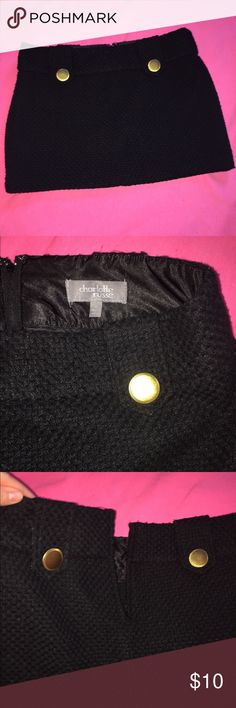 Black mini skirt Sweater like material with beautiful gold buttons on front and back. Zips up in back. Great piece for the fall with leggings and booties!! Skirts Mini