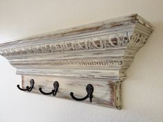 """24"""" Shabby Chic Crown Molding Floating Wall Shelf with 3 Hooks, Necklace Holder by HamptonsHangups on Etsy"""