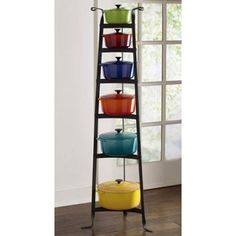 Gallery: Cookware Stands or pan stand for Storing Pots and Pans Kitchen Display, Kitchen Storage, Pot Storage, Storage Ideas, Le Creuset Cookware, Wrought Iron Decor, Dark Cabinets, Shaker Style, Updated Kitchen