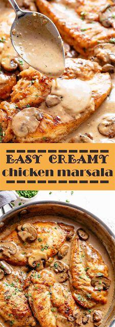 easy creamy chicken marsala | floats Co Creamy Chicken Breast Recipes, Easy Chicken Recipes, Creamy Spinach Chicken, Curry Recipes, Meat Recipes, Cooking Recipes, Recipies, Whole30 Recipes Lunch, Recipes Dinner