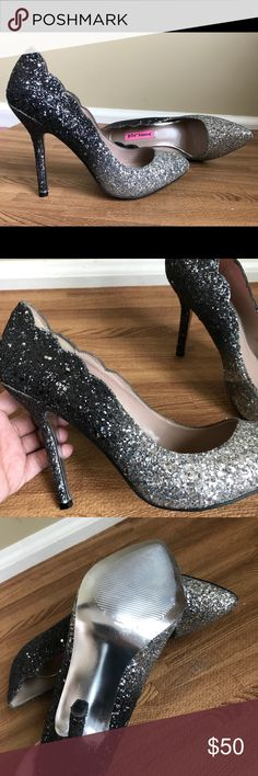 Betsey Johnson Silver fade to Black heels These ombre shoes are absolutely stunning in person. The silver perfectly fades to black. Betsey Johnson Shoes Heels