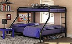 Sturdy Kids Sturdy Twin Over Full Metal Bunk Bed with Stairs. This Durable Steel Frame Bunk Bed For Kids includes full-length guardrails, and the bunk bed does not need a box spring. (Black)