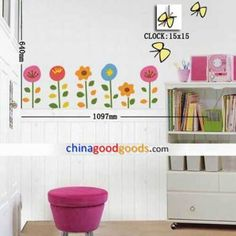 Dong-ho-hoa-buom-vang1 Wall Clock Sticker, Stickers, Sticker, Decal