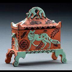 "Mariko Swisher ""Portable Miniature Shrine""   5"" x 5"" x 2"" Medium: Terra cotta  Terra cotta box/lid."