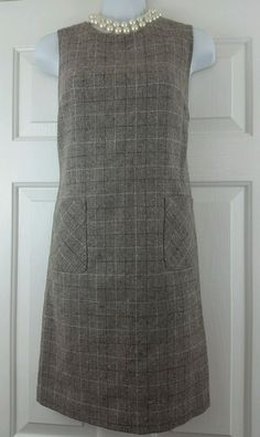 Talbots Wool Blend Light Brown Plaid Jumper Shift Lined Dress Petite 2P EUC…