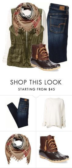 """""""D is for Duck boots"""" by camlinker ❤ liked on Polyvore featuring American Eagle Outfitters, URBAN ZEN, Old Navy, Burberry and Sperry Top-Sider"""